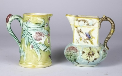 (2) MAJOLICA PITCHERS TULIPS / BIRDS and FLOWERS