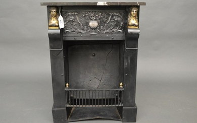 French Empire cast iron bedroom stove. The black and