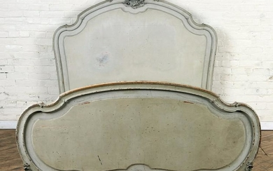 LOUIS XV STYLE CARVED AND PAINTED BED C.1900