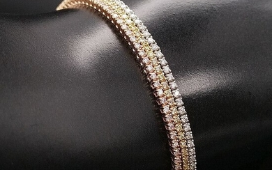 3.20ct Fancy Pink, Fancy Yellow and D-E / VS Diamonds - 14 kt. Pink gold, White gold, Yellow gold - Bracelet - ***No Reserve Price***