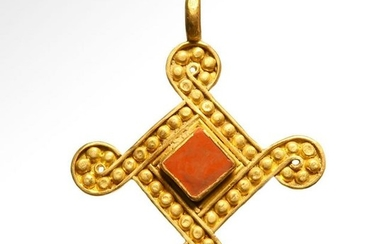 Viking Entwined Gold Cross Pendant with Jasper, c. 9th