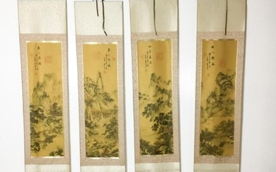 4 Chinese Landscape Painted Silk Scrolls