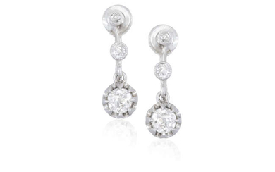 Description A PAIR OF DIAMOND PENDENT EARRINGS Each old...