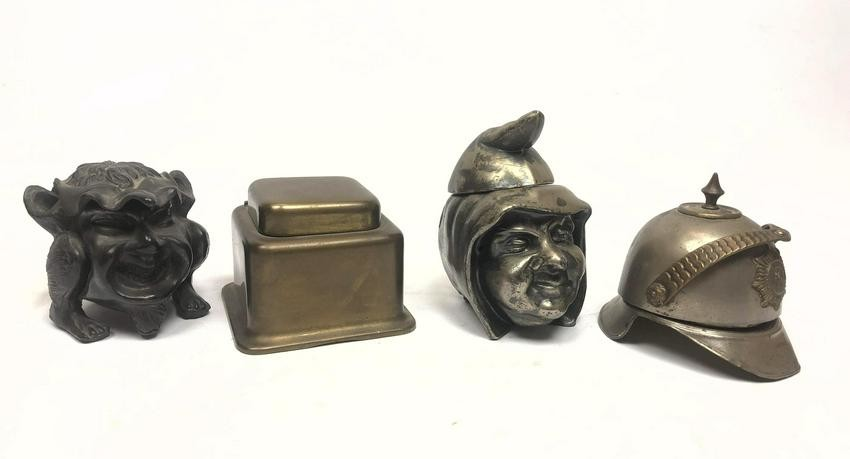 4pc Brass and Metal Inkwells,One European helmet, two f