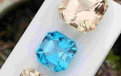 84 Carats Natural Assher Cut Golden+Blue Topaz 3 Items