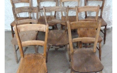 9 Elm Seated C19th Suffolk Kitchen Chairs (9) (A2+3)