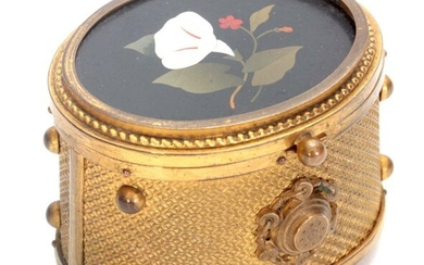 A 19TH CENTURY FRENCH GILT BRASS DRESSING TABLE BOX with...