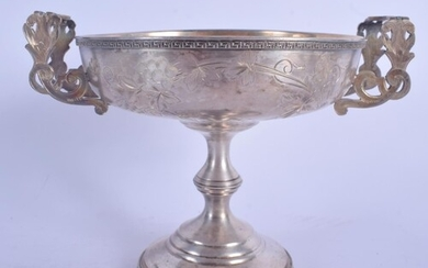 A 19TH CENTURY RUSSIAN TWIN HANDLED SILVER COMPORT decorated...