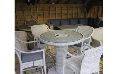 A Bramblecrest Chester 96cm round bar table and four bar sto...