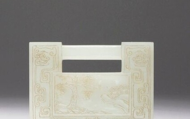 A CHINESE CELADON JADE RECTANGULAR PLAQUE QING DYNASTY Formed as a lock, decorated to one side with a scene of houses in a rocky landscape amidst pine, the reverse with four characters reading yu tang fu gui, the panels surrounded by archaistic beasts...