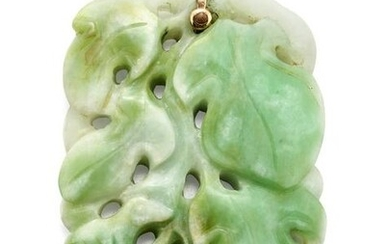 A CHINESE CERTIFIED CARVED JADE PENDANT, the