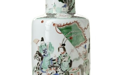 A CHINESE FAMILLE VERTE ROULEAU VASE, CHINA, 20TH