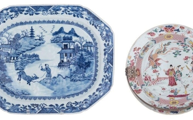 A Chinese famille rose export porcelain dish, decorated with Immortals...