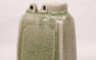 """A Chinese green glazed pottery flask, 9"""" high"""