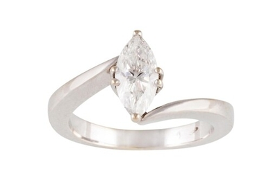 A DIAMOND SOLITAIRE RING, mounted in 18ct white gold. Togeth...