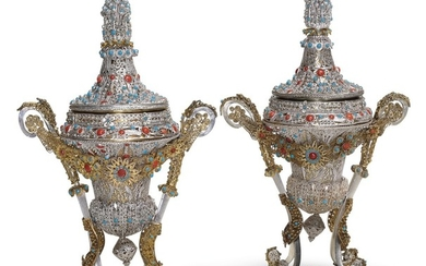 A FINE OTTOMAN PARCEL-GILT SILVER-FILIGREE ROSEWATER SPRINKLER AND INCENSE BURNER, TURKEY, 18TH CENTURY