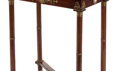 A French Louis XVI-Style Gilt Bronze Mounted Hardwood Table with Green Marble Top (19th century)