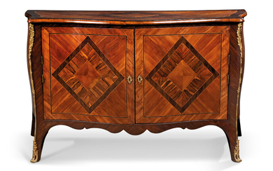 A GEORGE III ORMOLU-MOUNTED ROSEWOOD, PLUM, WENGE, FUSTIC AND BOIS SATINE SERPENTINE COMMODE