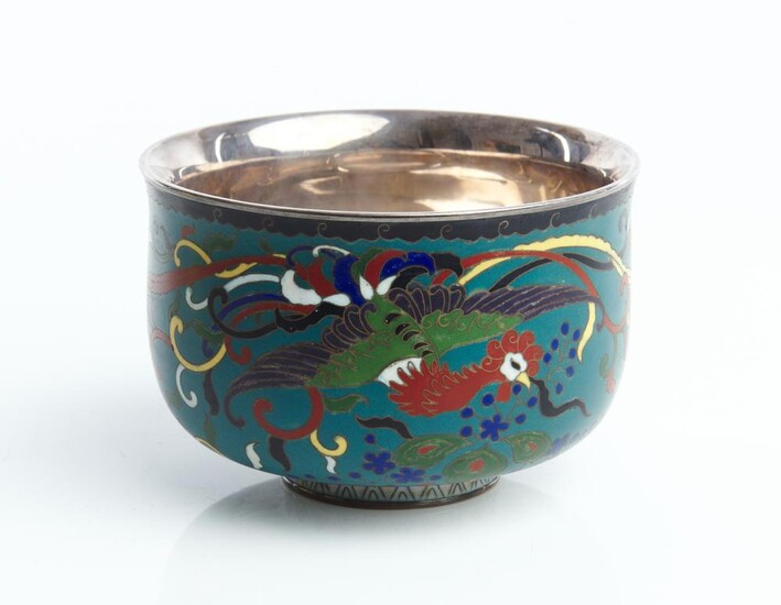 A JAPANESE SILVER-LINED CLOISONNE BOWL MEIJI PERIOD (1868-1912)
