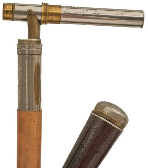 A LATE 19TH/EARLY 20TH CENTURY GADGET WALKING CANE
