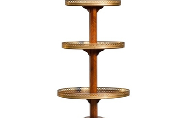 A LOUIS XVI STYLE GILT-BRONZE MAHOGANY AND PARQUETRY DUMB WAITER, AFTER THE MODEL BY SIMON PHILIPPE POIRIER AND MARTIN CARLIN, LATE 19TH CENTURY