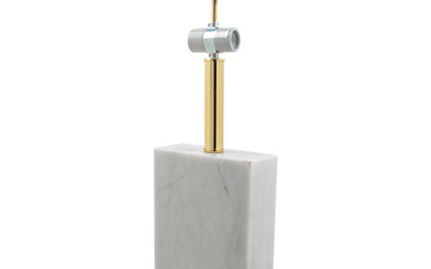 A Modernist Chromed Metal and Marble Lamp