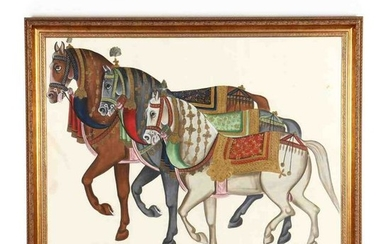 A Mughal Style Painting of Horses