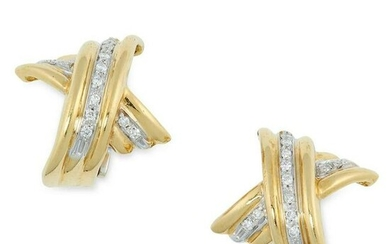 A PAIR OF DIAMOND KISS EARRINGS in 18ct gold, designed