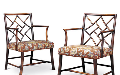 A PAIR OF GEORGE III MAHOGANY COCKPEN ARMCHAIRS, CIRCA 1760, POSSIBLY SCOTTISH, THE NEEDLEWORK BY H.R.H. THE DUCHESS OF GLOUCESTER, LATER PRINCESS ALICE (1901-2004)