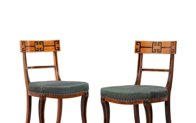 A PAIR OF PADOUK SIDE CHAIRS, 20TH CENTURY, IN THE MANNER OF THOMAS HOPE
