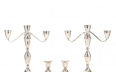 A Pair of Sterling Silver Candelabra and a Pair of