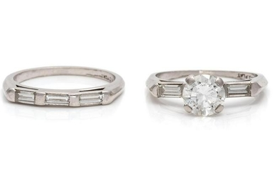 A Platinum and Diamond Ring Set,
