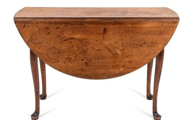 A Queen Anne Cherrywood Drop-Leaf Table Height 27 x