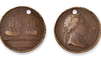 A Rare Resolution and Adventure Medal, 1772, in bronze coloured...