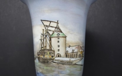 A Rosenthal hand-painted vase, decorated with a ship in a do...