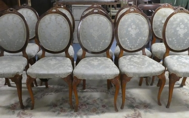 A Set of 10 Upholstered French Style Dining Chairs with Pier...