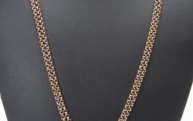 A VICTORIAN GOLD LINED GUARD CHAIN, WITH A CAMEO SET SLIDE, LENGTH 135CMS