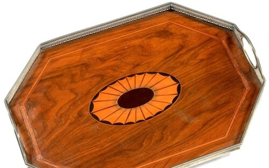 A VICTORIAN SILVER MOUNTED WALNUT TEA TRAY, THE CENTRE WITH ...
