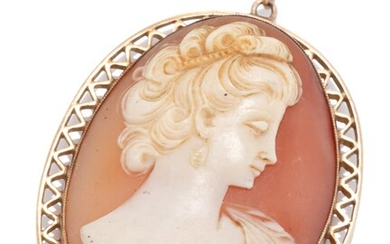 A VINTAGE 9CT GOLD CAMEO PENDANT; oval shell cameo featuring a portrait of a lady to decorative frame, size 49 x 32mm, wt. 9.16g.
