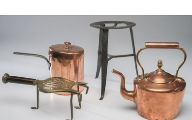 A Victorian Copper Kettle and Saucepan