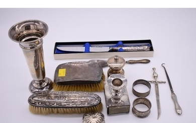 A Victorian silver combination match box and candle holder, ...