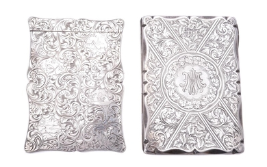 A Victorian silver shaped rectangular card case by S. Mordan & Co.