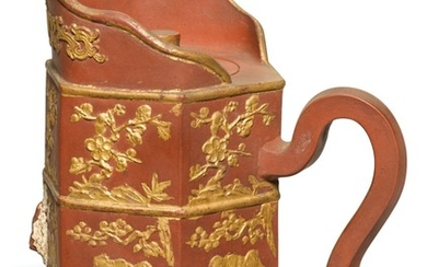 A 'YIXING' GILT-DECORATED TIBETAN-STYLE EWER AND COVER, DUOMU HU