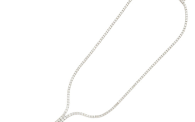 A diamond and white gold 'Y' necklace
