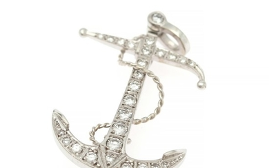 A diamond brooch/pendant in the shape of an anchor set with numerous brilliant-cut diamonds weighing a total of app. 0.85 ct., mounted in 18k white gold.