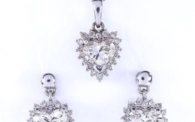 A heart shaped diamond cluster pendant necklace and stud ear...