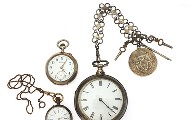 A large cylinder pocket watch in silver pair cases, movement signed Eardley Norton. Late 18th century. Case diam. 59/69 mm. (4)