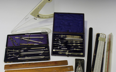 A late Victorian leather cased set of nickel technical drawing instruments, another partial set, cas