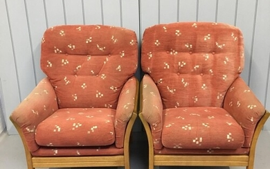 A lovely pair of oversized teak armchairs. Dimensions(cm) H9...
