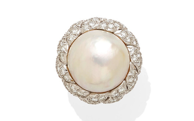 A mabé pearl and diamond ring